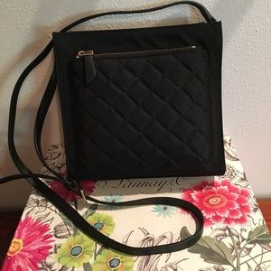 NWT Talbots Black Cloth Quilted Crossbody